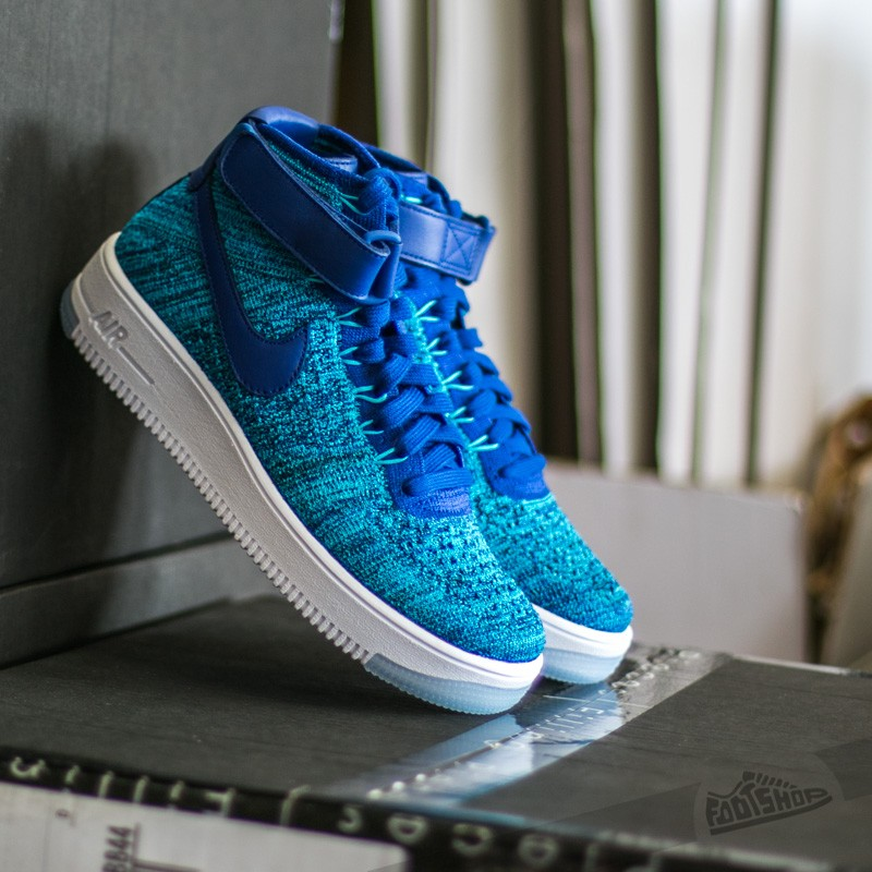 W Nike Air Force 1 Flyknit Blue Lagoon/ Deep Royal Blue