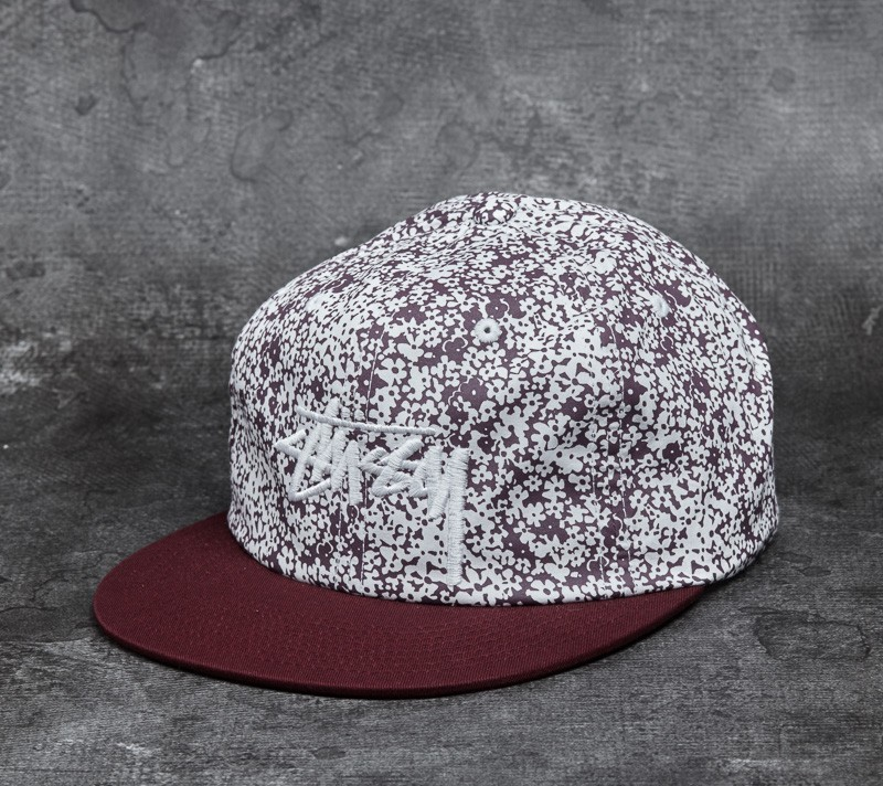 Stüssy Flower Crown Strapback Cap Burgundy
