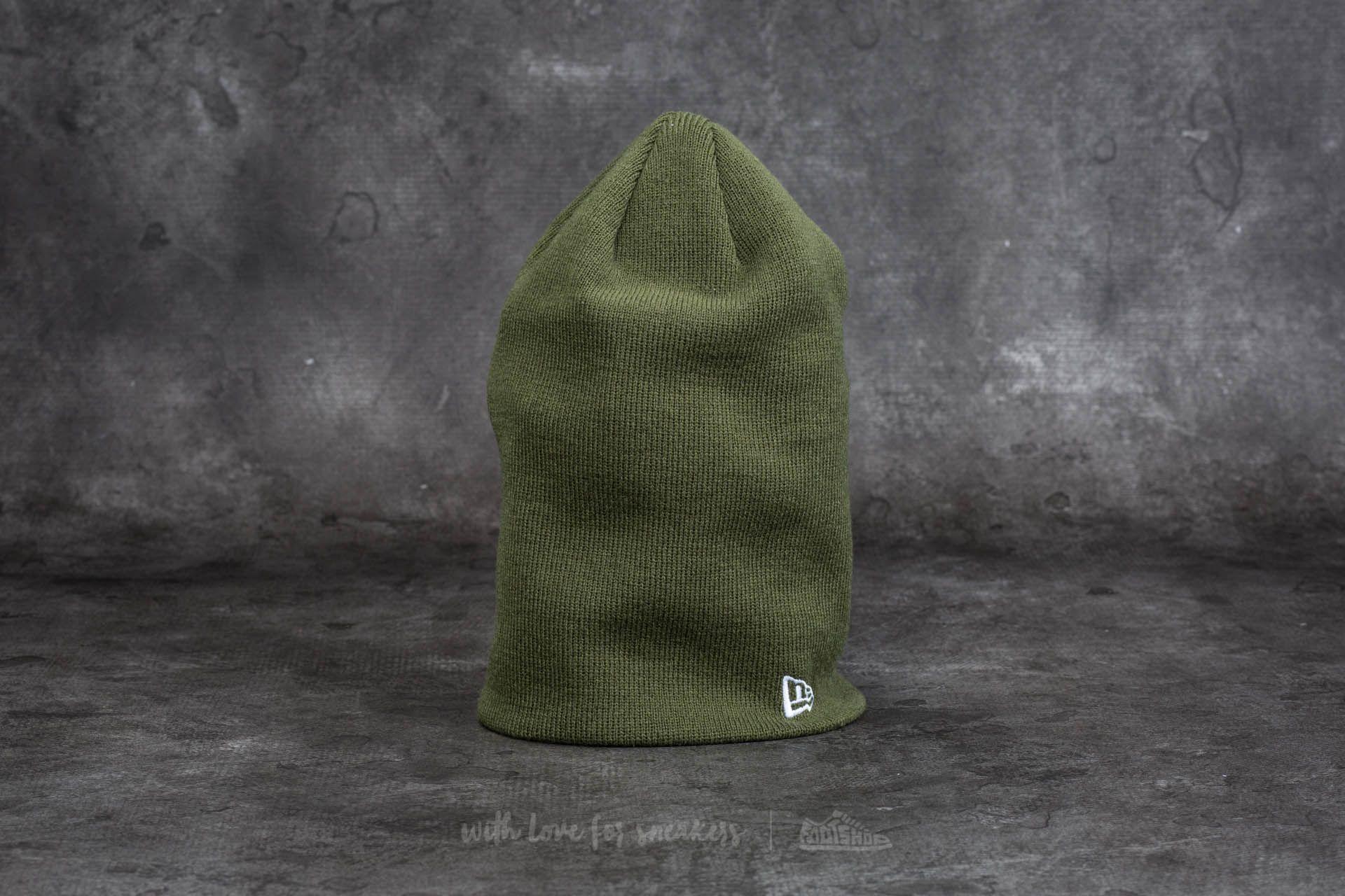 New Era Essential Long Knit Beanie Olive Green