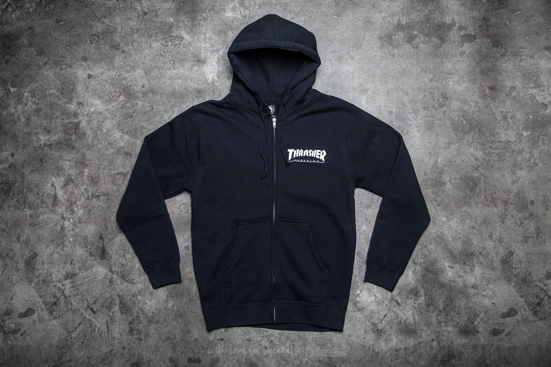Thrasher Magazine Logo Zip Hood Navy Blue