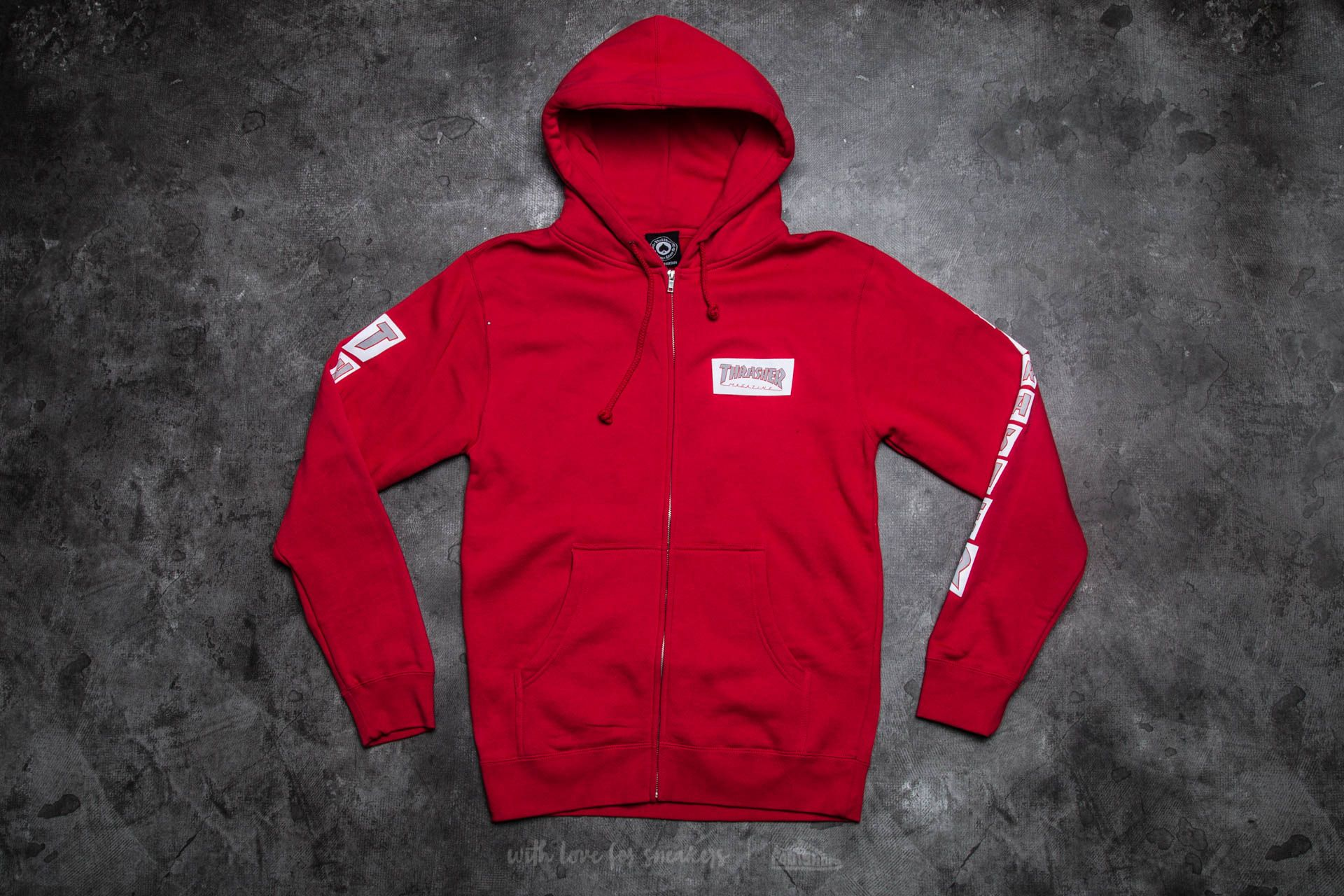 Thrasher Boxed Logo Zip Hood Red