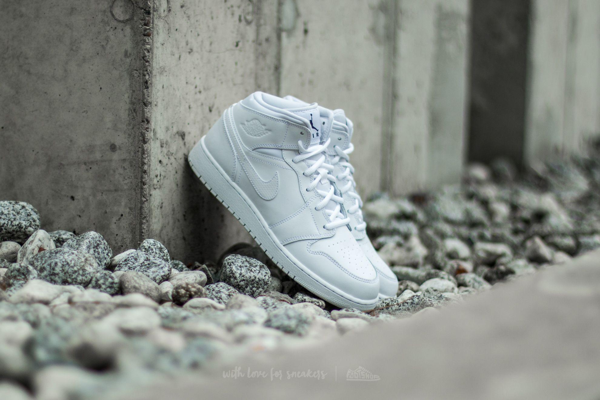 Air Jordan 1 Mid (BG) White/ Black-White