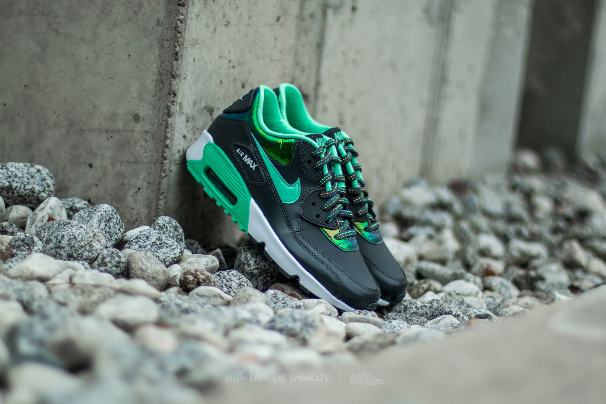 Nike Air Max 90 Se Leather (GS) Anthracite/Green Glow-Pure Platinum-White