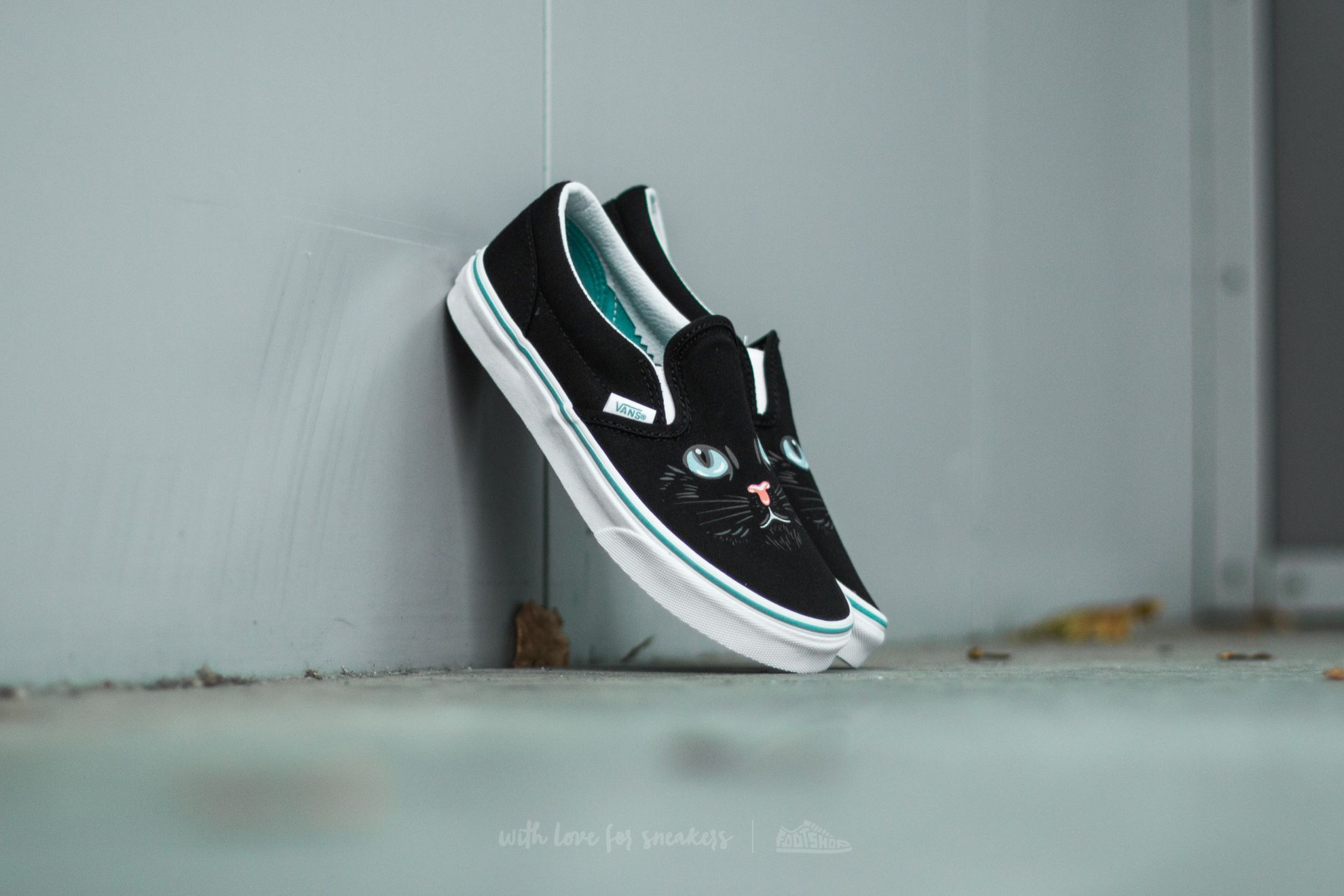 Vans K Classic Slip-On (Cat) Black/ True White