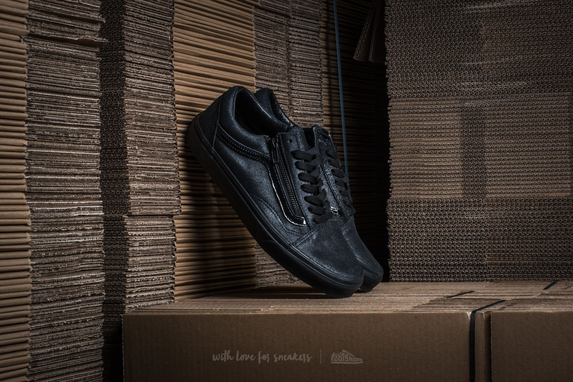 Vans Old Skool Zip (Patent Crackle) Black/ Black Footshop – FR