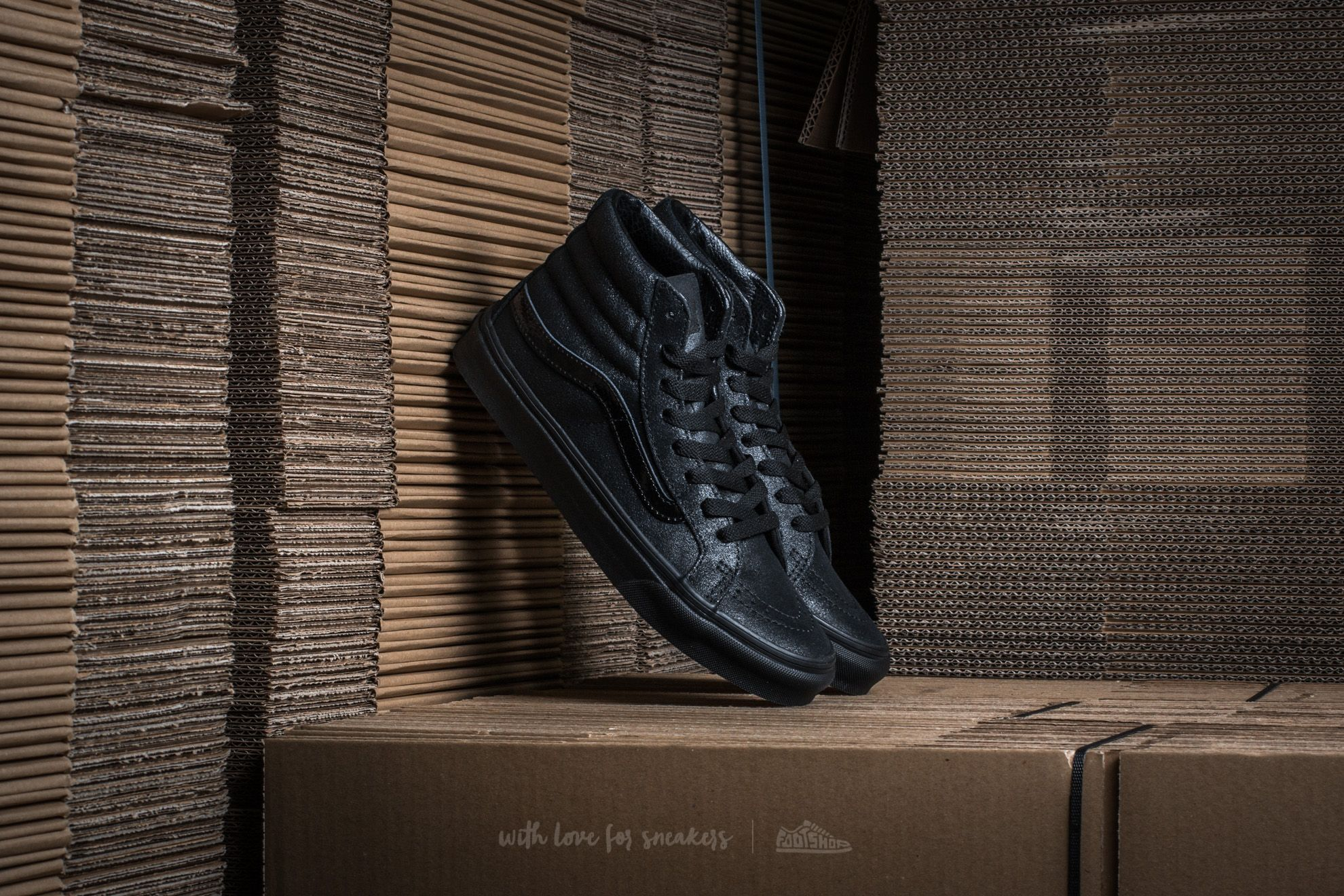 Vans Sk8-Hi Slim (Patent Crackle) Black/ Black Footshop – FR