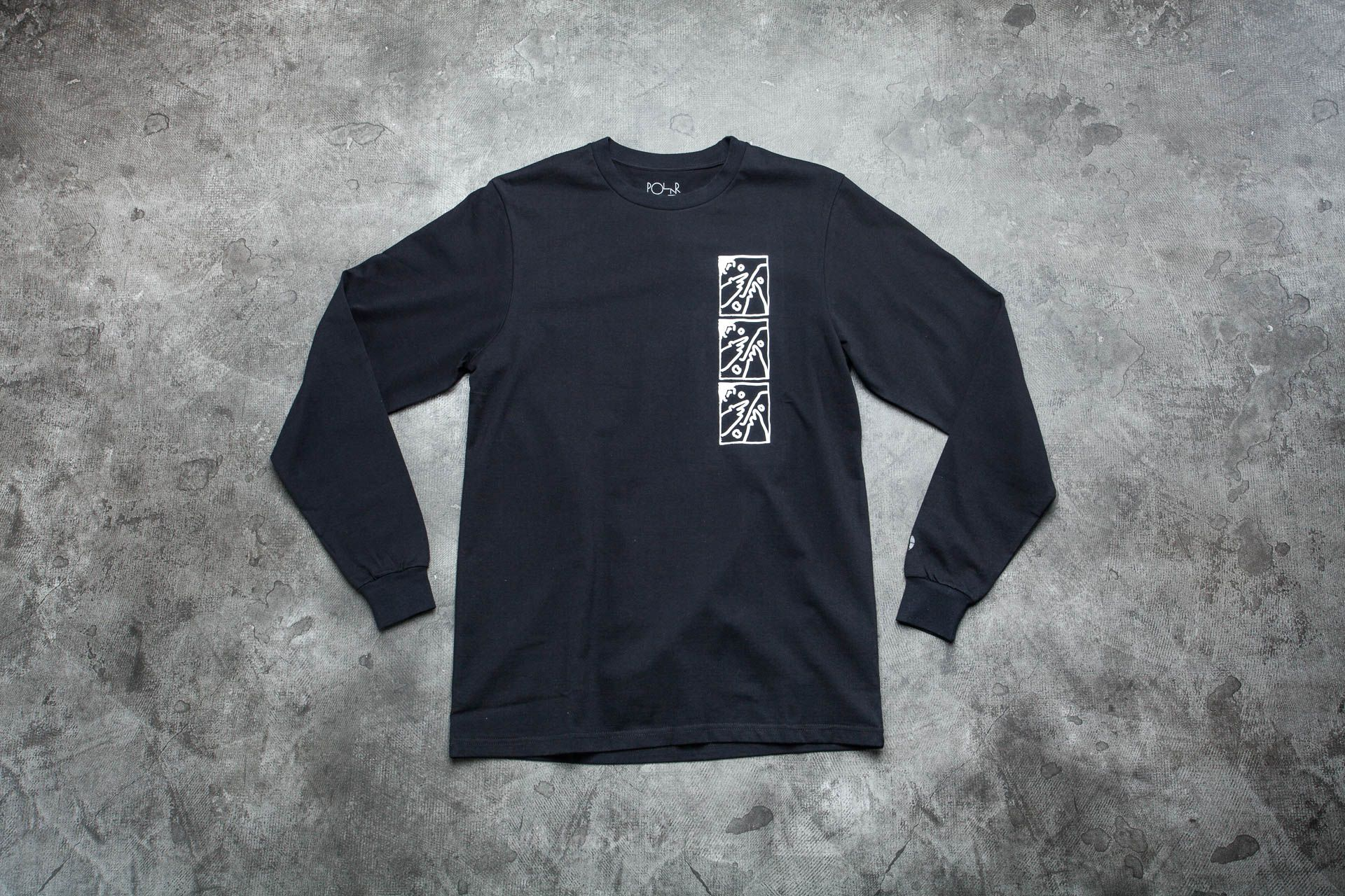 Polar Skate co. Three Faces Long Sleeve Tee Black