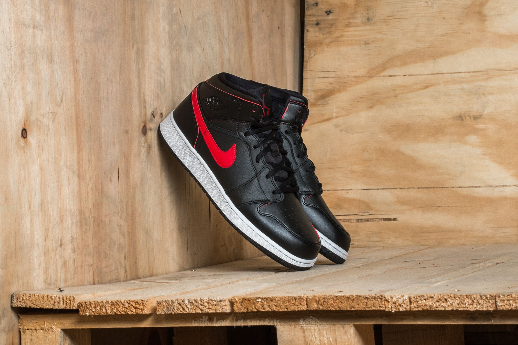 Air Jordan 1 Mid (BG) Black/ Gym Red-Gym Red-White