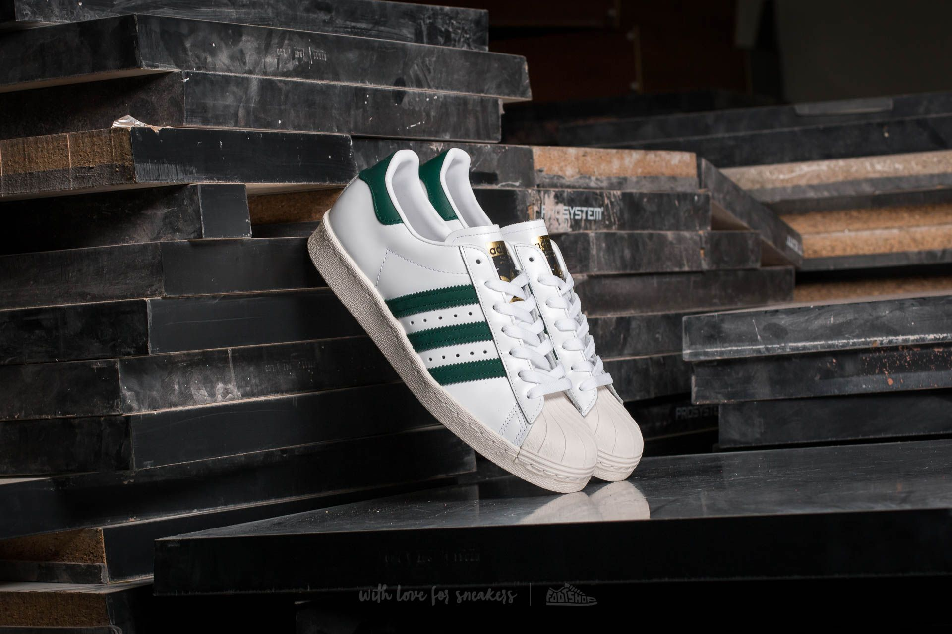 adidas Superstar 80s Ftw White/ Collegiate Green/ Gold Metallic