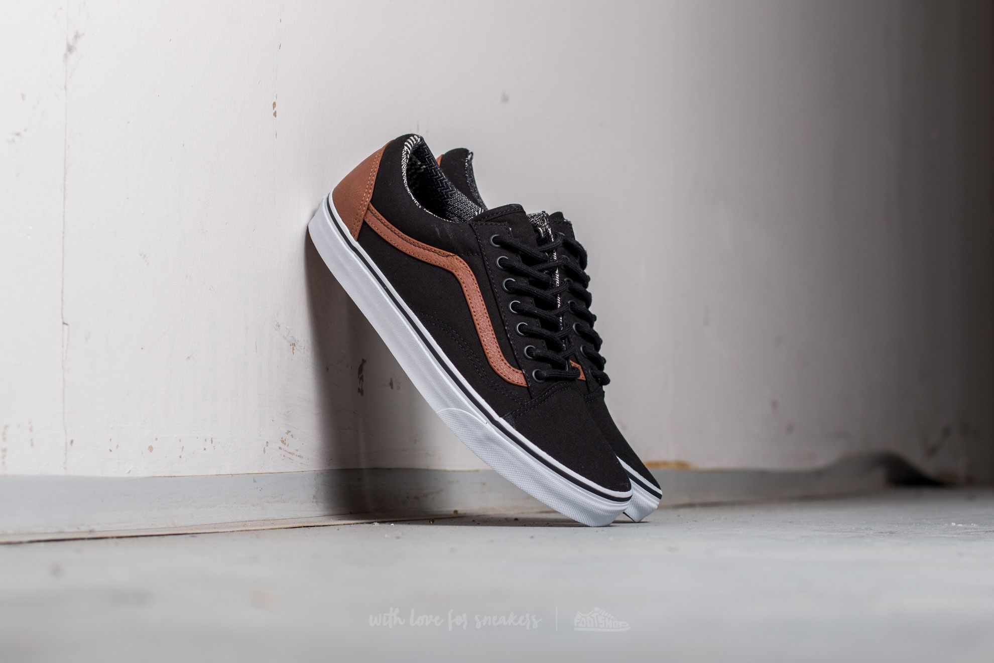 Vans Old Skool (Canvas & Leather) Black/ Material Mix Footshop – FR