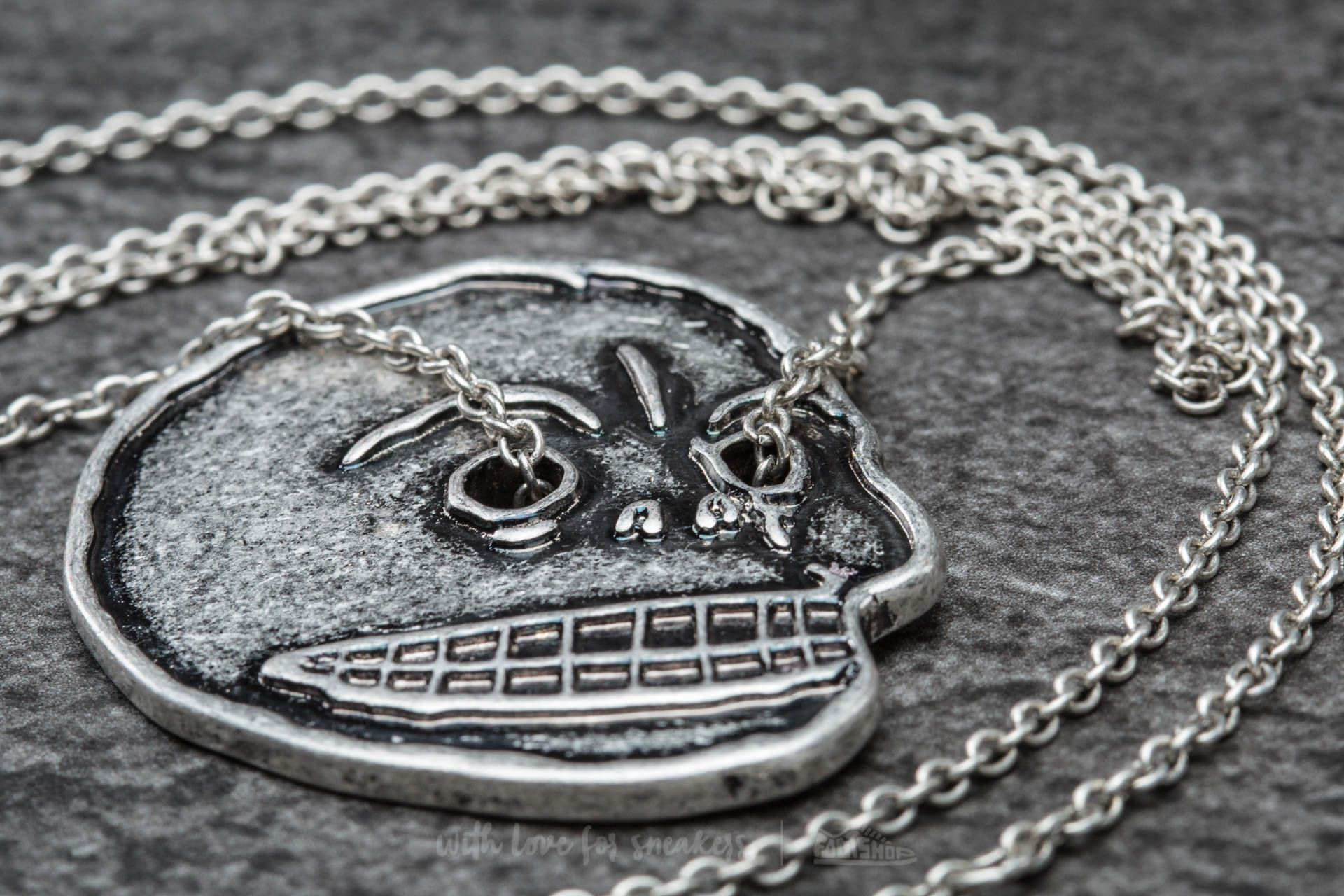 Cheap Monday Mad Skull Necklace Burnished Silver