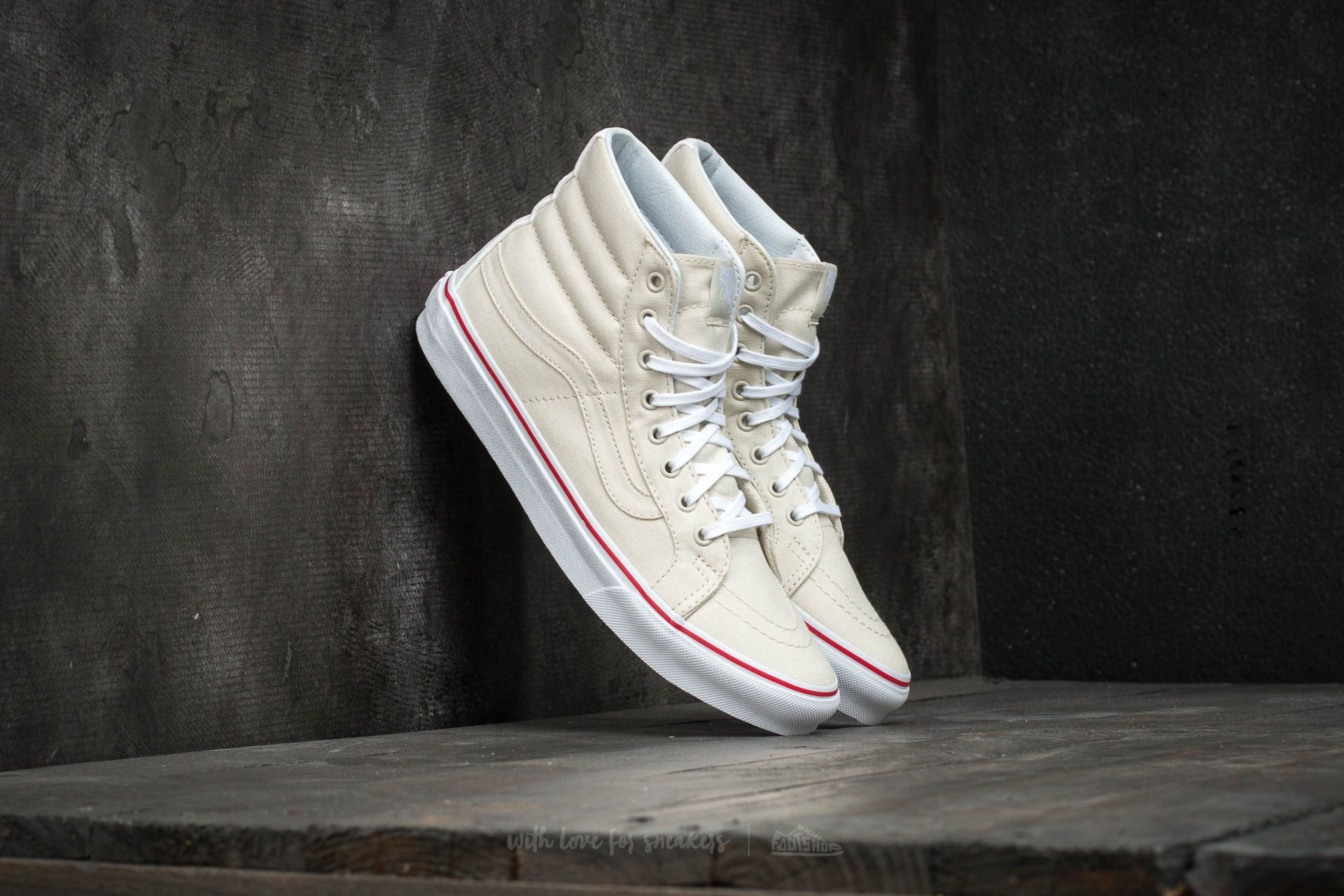 Vans Sk8-Hi Slim (Leather Canvas) Bone/ True White Footshop – FR